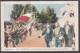 CPA - Maroc, CASABLANCA, M. SAINT , Résident Général Salue Les Drapeaux Des Corporations - Casablanca