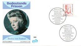 """BRD Schmuck-FDC Freimarken """"Frauen Der Deutschen Geschichte: Bertha Von Suttner"""", Mi 1498 ESSt 14.2.1991 BERLIN 12 - FDC: Sobres"""