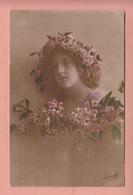 OLD PHOTO POSTCARD -  CHILDREN - GIRL - FAMOUS MODEL - FLOWERS IN HAIR - Portraits