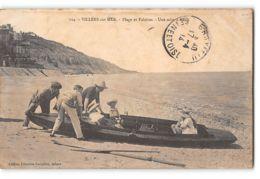 CPA 14 Villers Sur Mer Plage Et Falaises Une Mise à L'eau - Villers Sur Mer
