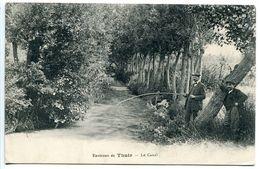 CPA 1912 - Environs De THUIR Le Canal ( Pêche à La Ligne Pêcheur ) Voyagé Vers Italie - Autres Communes
