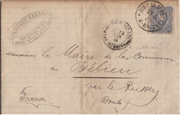 ALLEMAGNE REICH ALSACE YT N°39 OBLITERE SEUL SUR LETTRE OBLITERE SULZ POUR BELIEU - Allemagne