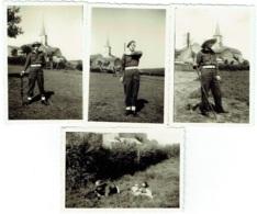 Foto/Photo. Humour.  Soldat. Militaire Et Fusil. Eglise En Ardennes  à Situer. Lot De 4 Photos - Krieg, Militär