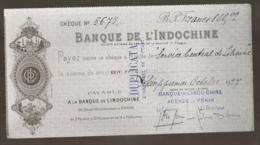 1927 CHEQUE BANQUE DE L'INDOCHINE / AGENCE DE PEKIN / PAYABLE A LA BANQUE D'INDO-CHINE PARIS   N10 - Cheques En Traveller's Cheques