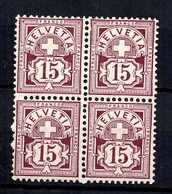Suisse YT N° 105 En Bloc De Quatre Neufs ** MNH. Gomme D'origine. TB. A Saisir! - 1882-1906 Coat Of Arms, Standing Helvetia & UPU