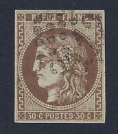 FRANCE 1870 CERES BORDEAUX 30c BROWN Nº 47 - 1870 Emission De Bordeaux