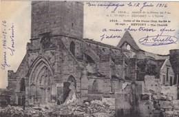 55 REVIGNY. GUERRE 1914-18 BATAILLE DE LA MARNE.. L'EGLISE.  + TEXTE DU 17 JUIN 1916 - Guerre 1914-18