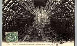 PARIS   TRAVAUX DU METROPOLITAIN  PLACE  SAINT MICHEL /LOT 4003 - Stations, Underground