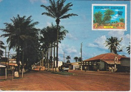 REPUBLIQUE DU GABON  - OYEM - VUE DU CENTRE VILLE - STATION ESSENCE TEXACO - TIMBRE - Gabon
