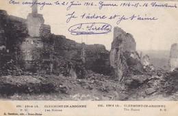 55  CLERMONT EN ARGONNE. MILITARIA.  GUERRE 1914-18 .LES RUINES + TEXTE DU 21/ JUIN/ 1916 - Guerre 1914-18