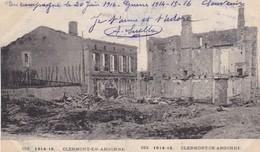 55  CLERMONT EN ARGONNE. MILITARIA.  GUERRE 1914-18 .RUE DE LA GARE MEUSIENNE + TEXTE DU 20 JUIN 1916 - Guerre 1914-18