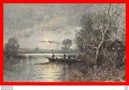 CPA Illustrateur Paul Kauffmann.  Paysage Lacustre, Barque...CO 898 - Illustrators & Photographers