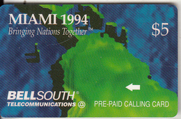 USA - Miami 1994(puzzle 2/3), Bellsouth Telecard $5, Tirage 7500, Mint - [3] Magnetic Cards