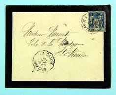 Lettre 1897 Affr. 15 C Type Sage Pour St - Claude, Tad Convoyeur Ligne St Claude à La Cluse - Storia Postale