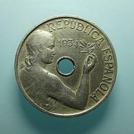 Spain 25 Centimos 1934 - [ 2] 1931-1939 : République