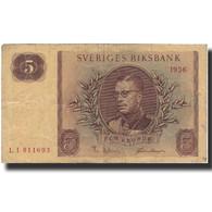 Billet, Suède, 5 Kronor, 1956, 1956, KM:42c, B+ - Suède