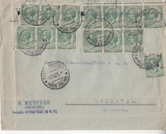 824 - Busta Senza Da Costantinopoli A Duisburg  Del 1921 Con 15 Valori Da Cent 5 Verde (Leoni) Uno Mancante  - - 1900-44 Victor Emmanuel III