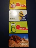 KAZACHSTAN 4 CARDS Prepaid  2x 500 Units + 2x 1000 Units   ** 128** - Kazachstan