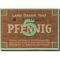 Billet, Allemagne, Baden, 5 Pfennig, 1947, KM:S1001a, SPL - [ 5] 1945-1949 : Occupazione Degli Alleati