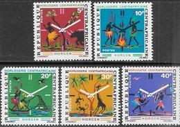 Central African Republic  1972  Sc#169-73 Clock Factory Set  MNH   2016 Scott Value $3.30 - Central African Republic