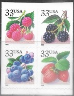 US  1999   Sc#3297c  33c Berries Block Of 4 Adhesives  Face Value $1.32 - Booklets