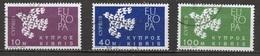 Chypre - Cyprus - Zypern 1961 Y&T N°189 à 191- Michel N°197 à 199 (o) - EUROPA CEPT - Chypre (République)