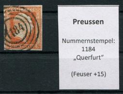 """Preussen: 1/2 Sgr. MiNr. 1 Nummernstempel 1184 """"Querfurt""""  Gestempelt / Used / Oblitéré - Preussen"""