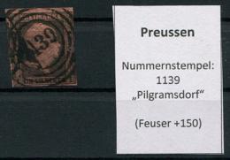 "Preussen: 1 Sgr. MiNr. 2 Nummernstempel 1139 ""Pilgramsdorf""  Gestempelt / Used / Oblitéré - Preussen"