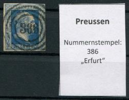 "Preussen: 2 Sgr. MiNr. 7 Nummernstempel 386 ""Erfurt""  Gestempelt / Used / Oblitéré - Preussen"