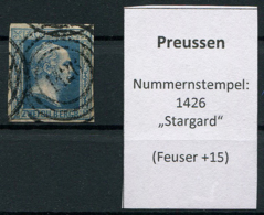 "Preussen: 2 Sgr. MiNr. 7 Nummernstempel 1426 ""Stargard""  Gestempelt / Used / Oblitéré - Preussen (Prussia)"
