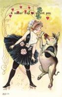 Illustrateur Cochon Dansant Avec Une Ballerine A Vouloir Trop On Obtient Peu RV - Women
