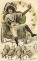 Illustrateur Jeune Femme Dans Un Fauteuil Roulant Tiré Par 4 Petits Cochons  Style Art Nouveau   RV Beaux Timbres 3c +2C - Femmes