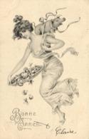 Illustrateur Style Vienne Jeune Femme Portant Sur Son Dos Un Petit Cochon Et Tenant  Un Plateau De Champignons TrèflesRV - Women