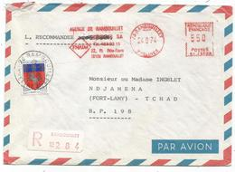 BLASON 20C ST LO RAMBOUILLET 1974 YVELINES MIXTE EMA 5.50 LETTRE REC AVION POUR LE TCHAD - 1941-66 Coat Of Arms And Heraldry