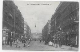 (RECTO / VERSO) LILLE EN 1904 - N° 43 - LA RUE FAIDHERBE TRES ANIMEE - CACHET AMBULANT TRI FERROVIAIRE - CPA - Lille