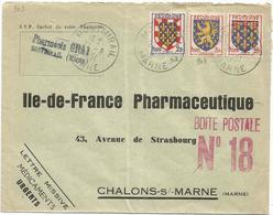 BLASON 2FR+3FR+10C LETTRE MISSIVE MONTMIRAIL MARNE 27.8.1951 TARIF ?? - 1941-66 Coat Of Arms And Heraldry