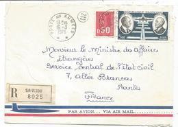 PA 5FR +50C BEQUET LETTRE AVION  REC SP 91338 POSTE AUX ARMEES 16.3.1976 - Poststempel (Briefe)
