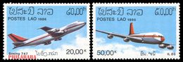 74 - Laos 1986 - YT 713/714 ; Mi 920/921  ** MNH  Planes, Avions - Laos
