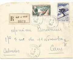 65C DINAN +30C CHAMONIX LETTRE REC C. PERLE ILE D'ARZ 4.7.1962 MORBIHAN - Marcophilie (Lettres)