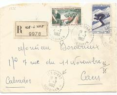 65C DINAN +30C CHAMONIX LETTRE REC C. PERLE ILE D'ARZ 4.7.1962 MORBIHAN - Poststempel (Briefe)