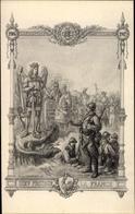 Artiste Cp Dieu Proteger La France, Jeanne D'Arc Als Drachentöterin, Französische Soldaten, I. WK - Non Classés
