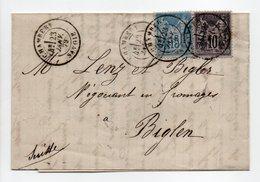 - Lettre CHAMBERY (Savoie) Pour BIGLEN (Suisse) 23 JANV 1879 - Bel Affranchissement Type Sage - Cachet AMBULANT - - Postmark Collection (Covers)