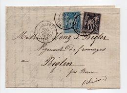 - Lettre CHAMBÉRY (Savoie) Pour BIGLEN Via GENEVE (Suisse) 11 FEVR 1879 - Bel Affranchissement Type Sage - - Postmark Collection (Covers)