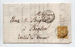 - Lettre COMESTIBLES DUFOURT, NANCY Pour BIGLEN Via BURGDORF (Suisse) 25 NOV 1880 - 25 C. Bistre S. Jaune Type Sage II - - Postmark Collection (Covers)