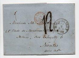 - Lettre HAMBURG (Hambourg / Allemagne) Via VALENCIENNES Pour NANTES 11 FEVR 1858 - Taxe Munuscrite 12 Décimes - - Storia Postale