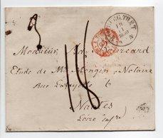- Lettre HAMBURG (Hambourg / Allemagne) Via VALENCIENNES Pour NANTES 19 NOV 1859 - Taxe Munuscrite 14 Décimes - - Entry Postmarks