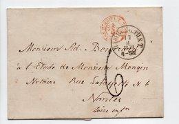 - Lettre HAMBURG (Hambourg / Allemagne) Via VALENCIENNES Pour NANTES 17 AOUT 1859 - Taxe Munuscrite 6 Décimes - Entry Postmarks