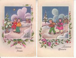 """Cartes Anciennes Fantaisies - Nouvel An - Lot De 2 Cartes """"Enfants"""" - Nouvel An"""