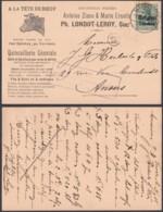 """BELGIQUE COB OC 2 SUR CARTE PUBLICITAIRE """"A LA TETE DE BOEUF """" +CENS (DD) DC-7266 - [OC1/25] Gen.reg."""
