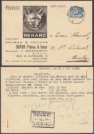 """BELGIQUE COB 426 SUR CARTE PUBLICITAIRE """"PRODUITS RENARD"""" ROULERS 12/11/1941  (DD) DC-7280 - Belgium"""